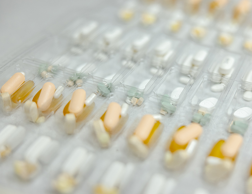 Close-up photograph of pre-packaged pill combinations